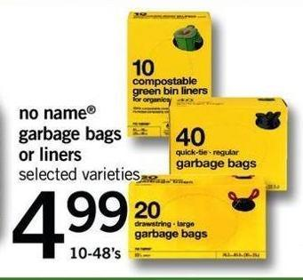 No Name Garbage Bags Or Liners - 10-48's