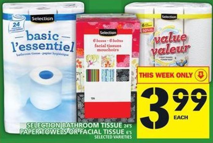 Selection Bathroom Tissue Or Paper Towels Or Facial Tissue