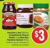 Smucker's Jam 500 mL Compliments Peanut Butter 1 Kg Best Buy Hazelnut Spread 725 g