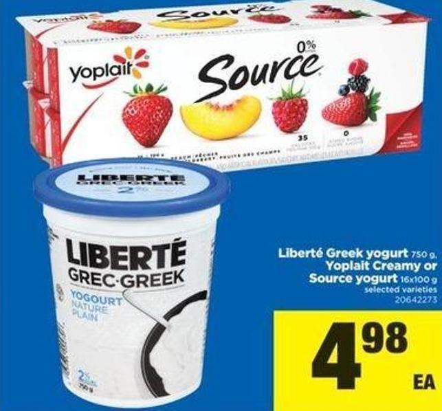 Liberté Greek Yogurt 750 G - Yoplait Creamy Or Source Yogurt 16x100 G