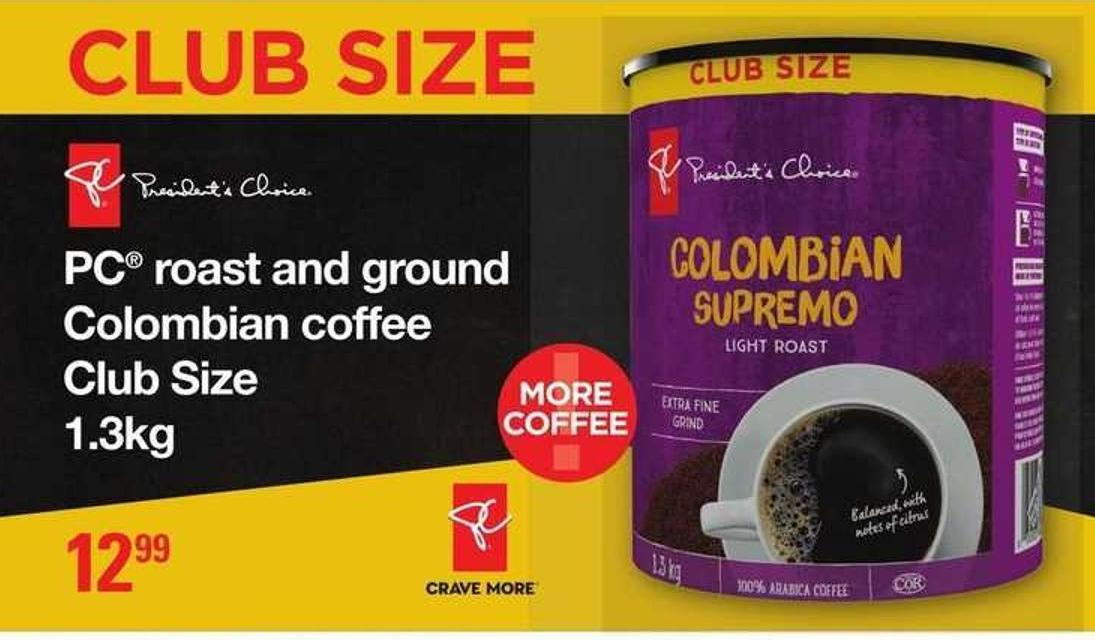PC Roast And Ground Colombian Coffee - 1.3kg