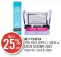 Neutrogena Twin Pack Wipes - Lotion or Facial Moisturizers