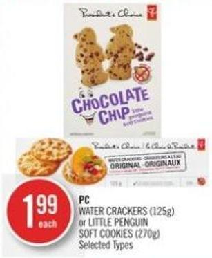 PC Water Crackers (125g) or Little Penguin Soft Cookies (270g)
