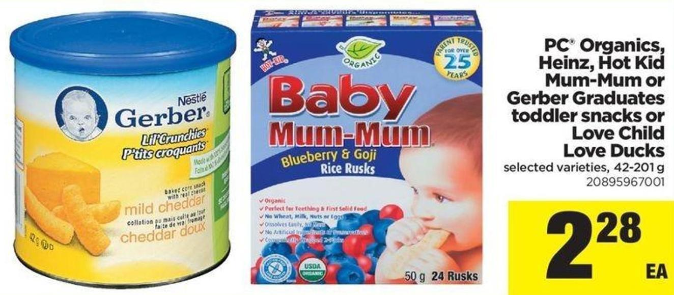 PC Organics - Heinz - Hot Kid Mum-mum Or Gerber Graduates Toddler Snacks Or Love Child Love Ducks - 42-201 G