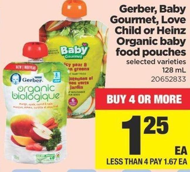 Gerber - Baby Gourmet - Love Child Or Heinz Organic Baby Food Pouches - 128 mL
