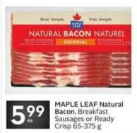 Maple Leaf Natural Bacon - Breakfast Sausages or Ready Crisp