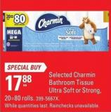 Selected Charmin Bathroom Tissue Ultra Soft or Strong - 20=80 Rolls