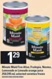 Minute Maid Five Alive - Fruitopia. Nestea - Lemonade Or Limeade Orange Juice - 250/295 mL