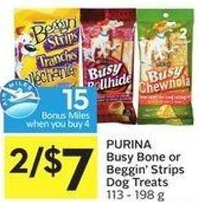 Purina Busy Bone or Beggin' Strips Dog Treats 113 - 198 g - 15 Air Miles Bonus Miles When You Buy 4
