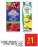 Sunrype Blue Label 1 L or Sunrype 900 mL Juice