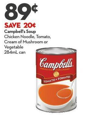 Campbell's Soup Chicken Noodle - Tomato - Cream of Mushroom or Vegetable 284ml