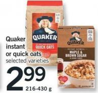 Quaker Instant Or Quick Oats - 216-430 g