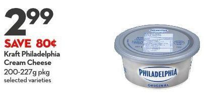 Kraft Philadelphia  Cream Cheese 200-227g Pkg