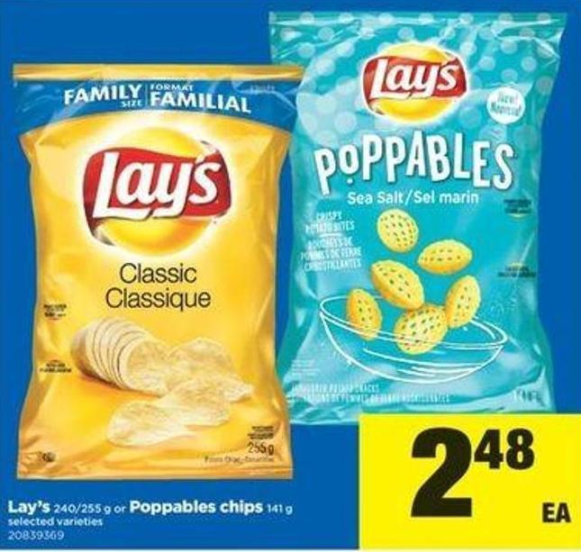 Lay's 240/255 G Or Poppables Chips 141 G
