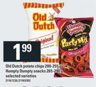 Old Dutch Potato Chips - 200-255 G Or Humpty Dumpty Snacks - 265-290 G
