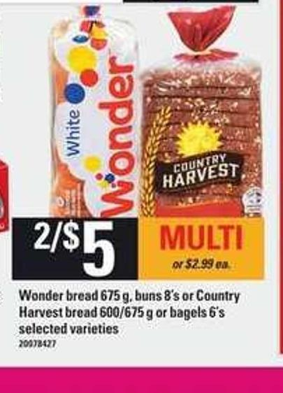 Wonder Bread - 675 g - Buns - 8's Or Country Harvest Bread - 600/675 g Or Bagels - 6's