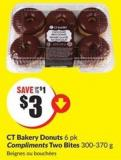 Ct Bakery Donuts 6 Pk Compliments Two Bites 300-370 g