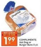 Compliments Hot Dog or Burger Buns 8 Pk