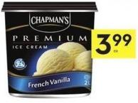 Chapman's Premium Ice Cream or Sorbet 2 L or No Sugar Added Ice Cream 1 L