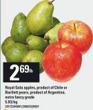 Royal Gala Apples - Product Of Chile Or Bartlett Pears - Product Of Argentina - Extra Fancy Grade