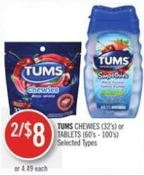 Tums Chewies (32's) or Tablets (60's - 100's)