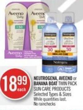 Neutrogena - Aveeno or Banana Boat Twin Pack Sun Care Products