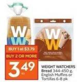 Weight Watchers Bread 344-450 g - English Muffins or Tortillas 6-8 Pk