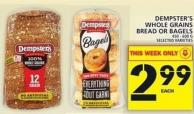 Dempster's Whole Grains Bread Or Bagels
