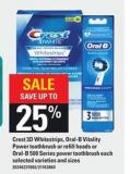 Crest 3D Whitestrips - Oral-b Vitality Power Toothbrush Or Refill Heads Or Oral-b 500 Series Power Toothbrush