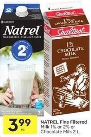 Natrel Fine Filtered Milk 1% or 2% or Chocolate Milk 2 L