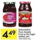 Smucker's Pure - Double Fruit or No Sugar Added Jam 310-500 mL