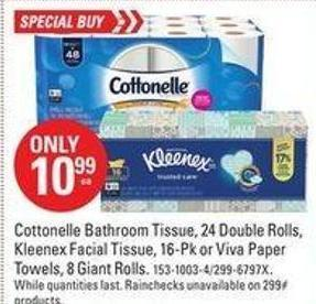 Cottonelle Bathroom Tissue - 24 Double Rolls - Kleenex Facial Tissue - 16-pk or Viva Paper Towels - 8 Giant Rolls