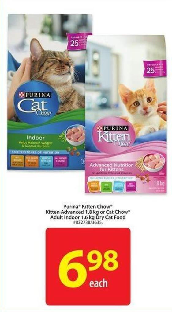 Purina Kitten Chow Kitten Advanced 1.8 Kg or Cat Chow Adult Indoor 1.6 Kg Dry Cat Food