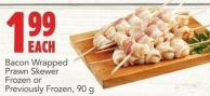 Bacon Wrapped Prawn Skewer