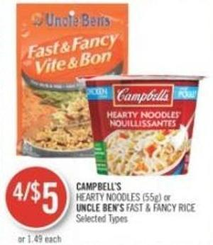 Campbell's Hearty Noodles (55g) or Uncle Ben's Fast & Fancy Rice