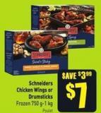 Schneiders Chicken Wings or Drumsticks Frozen 750 G-1 Kg