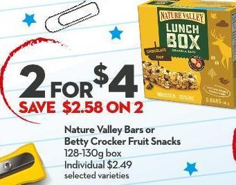 Nature Valley Bars or  Betty Crocker Fruit Snacks 128-130g Box