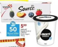 Yoplait Source 16 Pk or Liberté Greek Yogurt - 50 Air Miles Bonus Miles