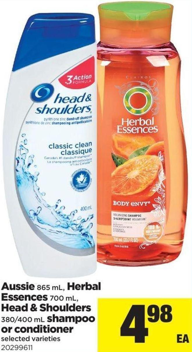 Aussie - 865 Ml - Herbal Essences - 700 Ml - Head & Shoulders - 380/400 Ml Shampoo Or Conditioner