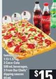 Family Pizza 1.13-1.37 Kg - 3 Coca-cola 500 Ml Beverages - 3 From Our Chefs Dipping Sauces 44 Ml
