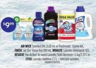 Air Wick Scented Oils - 2x20 Ml Or Freshmatic Starter Kit - Finish Jet-dry Rinse Aid - 200 Ml - Woolite Laundry Detergent - 1.8 L - Resolve Oxi-action In-wash Laundry Stain Remover - 1.5 Kg/2.22 L Or Lysol Laundry Additive - 2.7 L