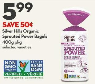 Silver Hills Organic  Sprouted Power Bagels 400g Pkg
