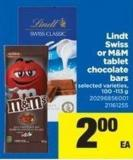 Lindt Swiss Or M&M Tablet Chocolate Bars - 100 -113 g