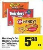 Hershey's Oh Henry! - Reese Or Twizzlers - 30's - 374 -468 G