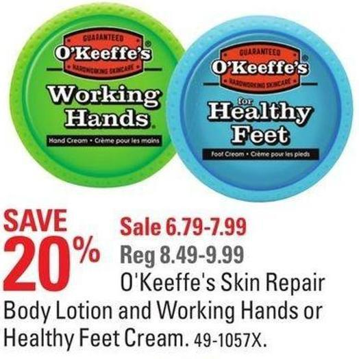 O'keeffe's Skin Repair Body Lotion and Working Hands or Healthy Feet Cream