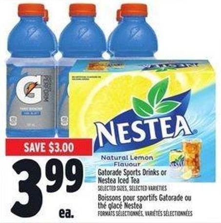 Gatorade Sports Drinks Or Nestea Iced Tea