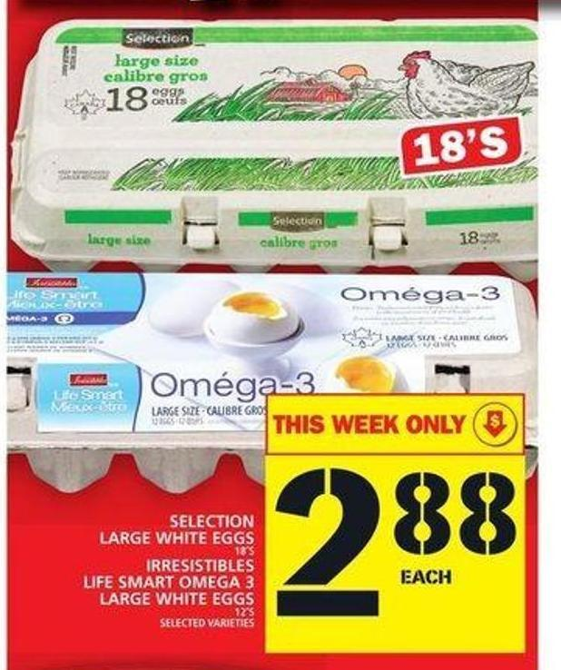 Selection Large White Eggs Or Irresistibles Life Smart Omega 3 Large White Eggs