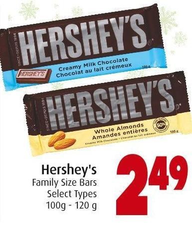 Hershey's Family Size Bars Select Types 100g - 120 g