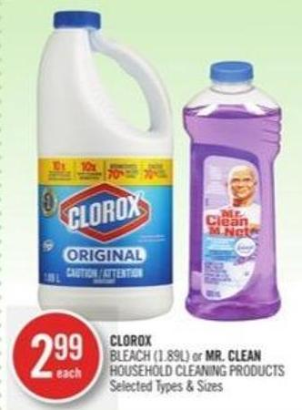 Clorox Bleach (1.89l) or Mr. Clean Household Cleaning Products