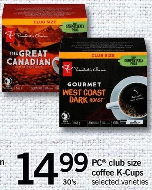 PC Club Size Coffee K-cups - 30's